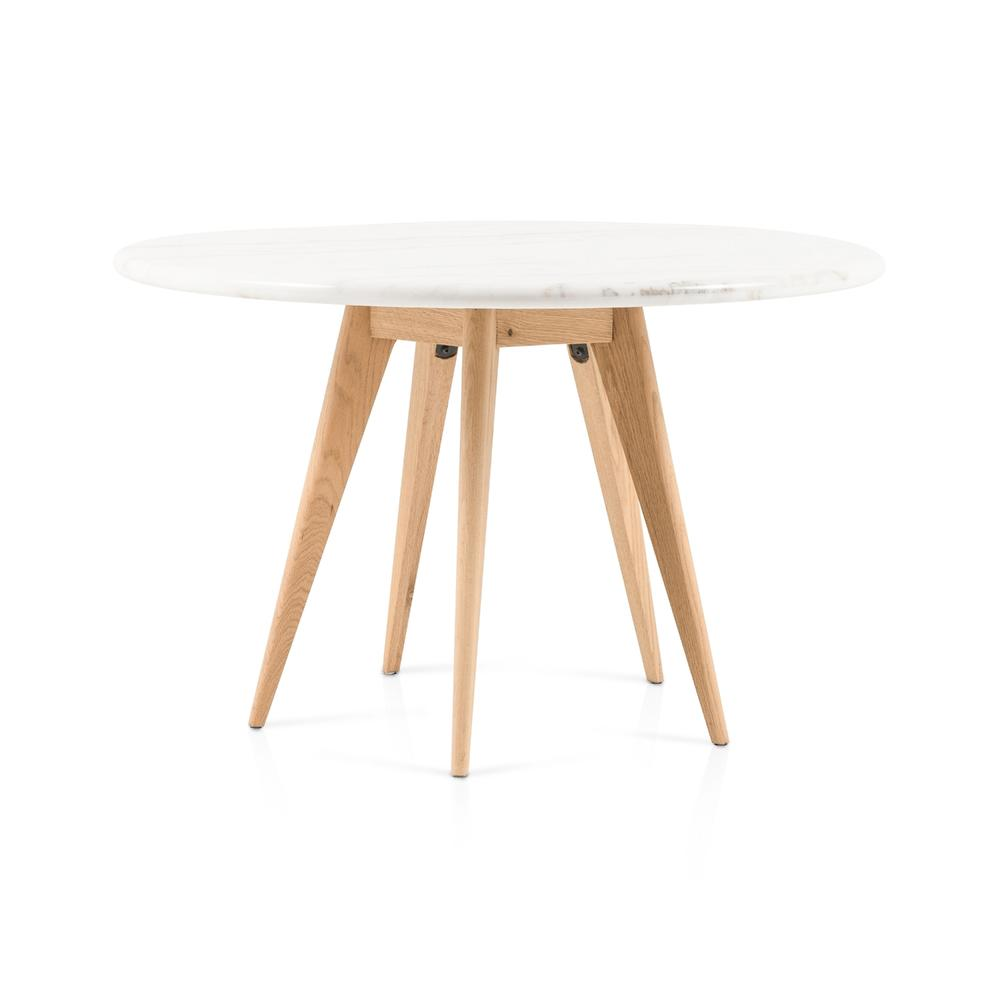 Arago Round Dining Table-white Marble