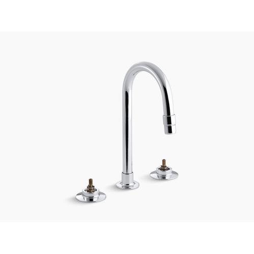 Polished Chrome 0.5 Gpm Widespread Commercial Bathroom Sink Base Faucet With Gooseneck Spout, Vandal-resistant Aerator and Rigid Connections, Requires Handles, Drain Not Included