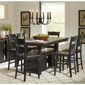Madison County High/low Table With 6 Chairs - Vintage Black