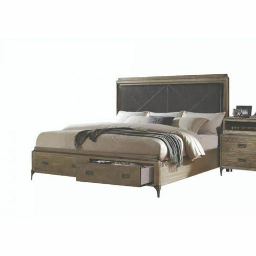 ACME Athouman California King Bed w/Storage - 23914CK - PU & Weathered Oak