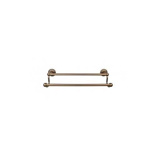Edwardian Bath Towel Bar 18 In. Double - Rope Backplate - German Bronze
