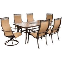 Monaco 7 Pc. Dining Set - Two Swivel Chairs, Four Dining Chairs, and a 40 x 68 in. Table