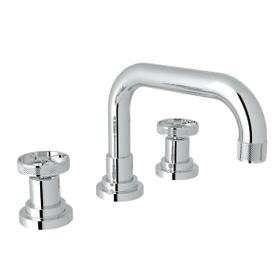 Campo U-Spout Widespread Bathroom Faucet - Polished Chrome with Industrial Metal Wheel Handle