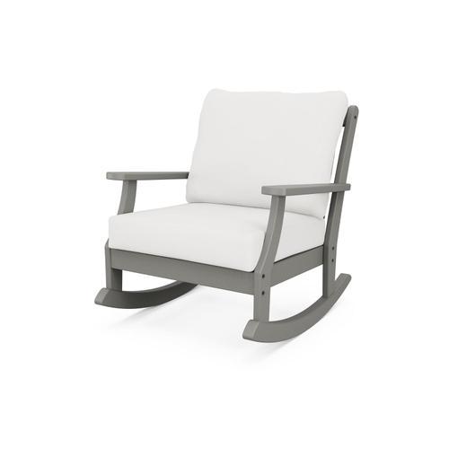Slate Grey & Textured Linen Braxton Deep Seating Rocking Chair