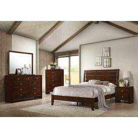 See Details - Serenity Merlot Queen Bed with Mirrored Dresser and Nightstand