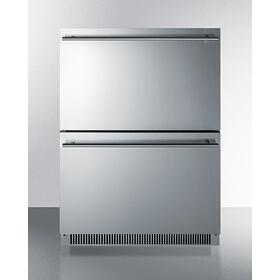 Commercially Listed Energy Star Certified 2-drawer All-refrigerator In Stainless Steel Designed for Indoor or Outdoor Use Under Standard or ADA Compliant Counters