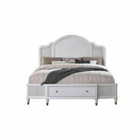 ACME Celestia Queen Bed (Storage) - 22110Q - Coastal - Wood (Solid Poplar), Wood Veneer (Oak), Poly-Resin, MDF, Ply, PB - Off White