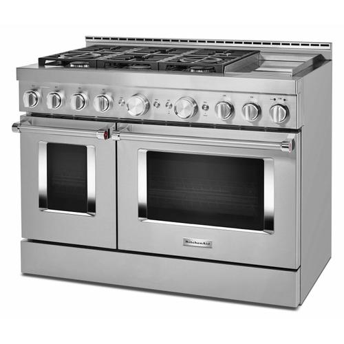 KitchenAid - KitchenAid® 48'' Smart Commercial-Style Gas Range with Griddle - Heritage Stainless Steel