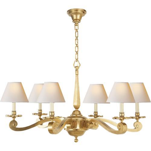 Product Image - Alexa Hampton Myrna 6 Light 33 inch Natural Brass Chandelier Ceiling Light