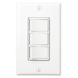 Multi-Function Control, White, Three Switch Control With Four-Function Control, Heater/Fan/Light, Night-Light