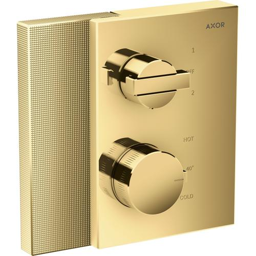AXOR - Polished Gold Optic Thermostatic Trim with Volume Control and Diverter - Diamond Cut