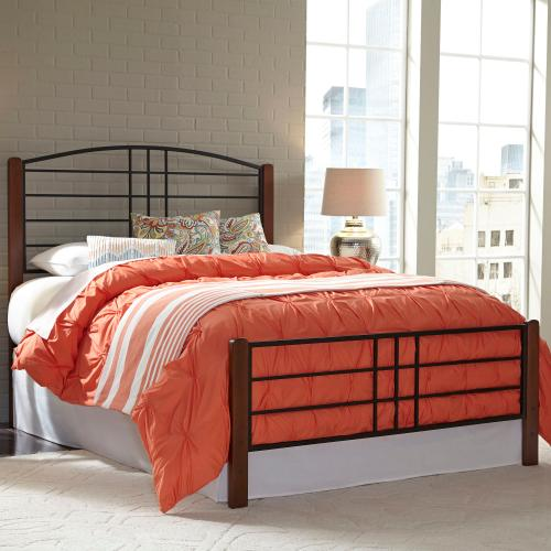 Dayton Metal Headboard and Footboard Bed Panels with Flat Wood Posts and Sloping Top Rail, Black Grain Finish, Full