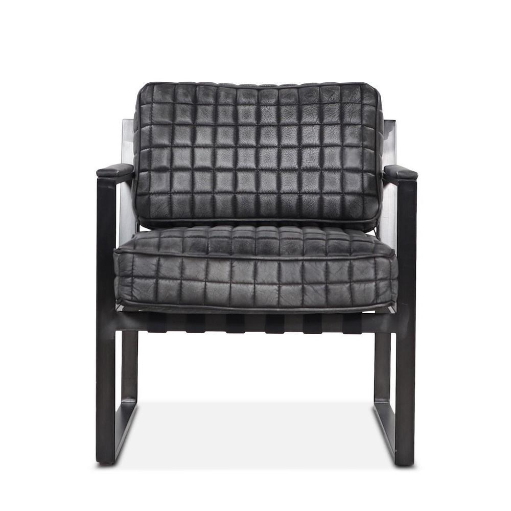 Portofino Leather Arm Chair Distressed Black