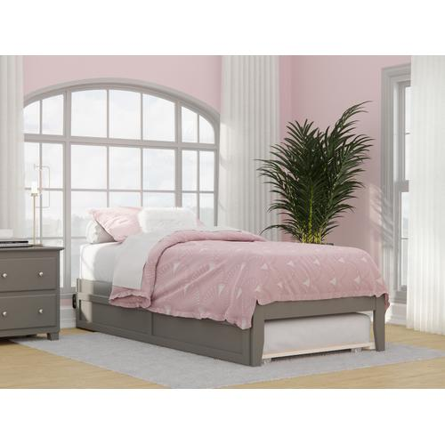Colorado Twin Extra Long Bed with USB Turbo Charger and Twin Extra Long Trundle in Grey