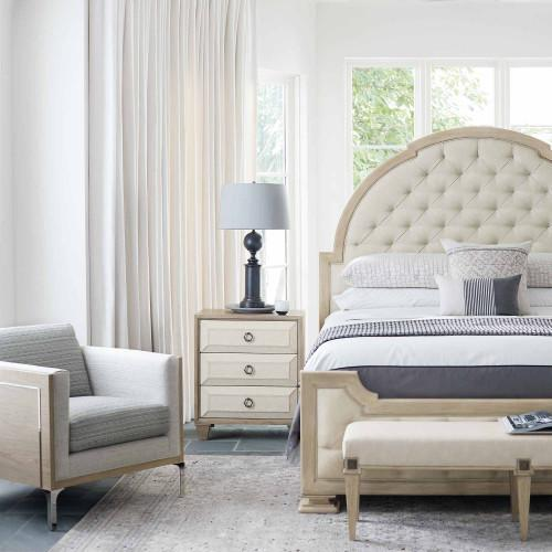King-Sized Santa Barbara Upholstered Tufted Panel Bed in Sandstone (385)