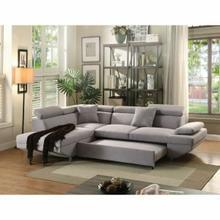 ACME Jemima Sectional Sofa w/Sleeper - 52990 - Gray Fabric