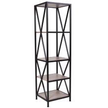 See Details - Sonoma Oak Wood Grain Finish Storage Shelf with Metal Frame
