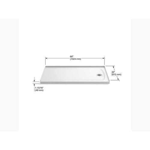 "White 60"" X 32"" Shower Base With Right-hand Drain"