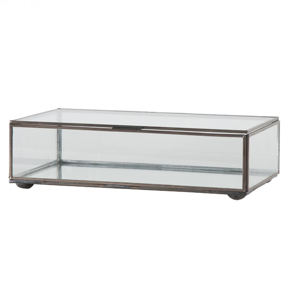 Create A Stunning Display With This Hinged, Rectangular Clear Glass Box With Antique Brass Edges. Perfect When Displayed as A Standalone Accent, or Group With Our Different Sized Glass Boxes (box Clr and Clrs) as A Showcase for Jewelry or Other Collectibles.
