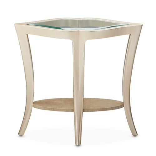 End Table W/glass Chardonnay