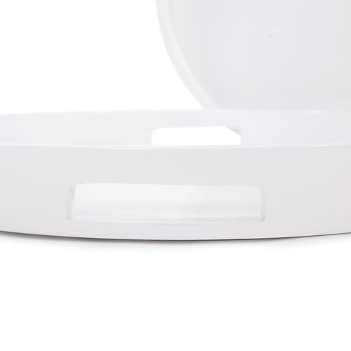 Howard Elliott - White Lacquer Round Wood Tray Set