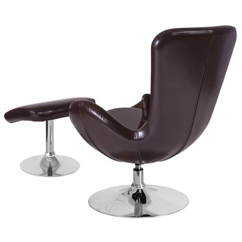 Brown Leather Side Reception Chair with Ottoman