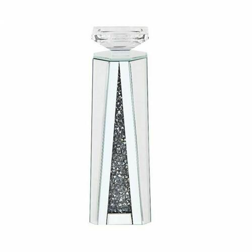 ACME Nowles Accent Candleholder (Set-2) - 97624 - Mirrored & Faux Stones