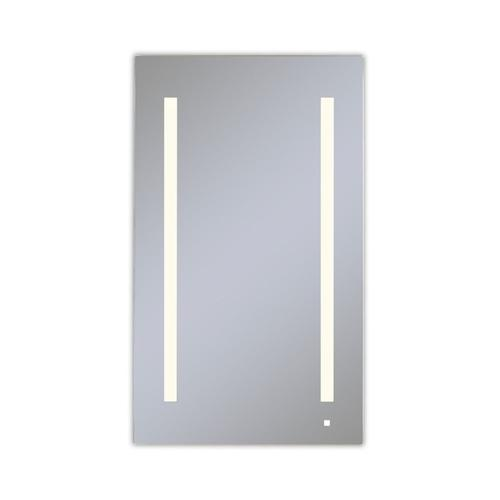 """Aio 23-1/4"""" X 40"""" X 4"""" Single Door Lighted Cabinet With Lum LED Lighting In Soft White (2700k), Dimmable, Built-in Om Audio, Interior Lighting, Electrical Outlet, Usb Charging Ports, Magnetic Storage Strip and Left Hinge"""