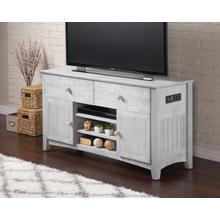 See Details - Nantucket 2 Drawer 50 inch Entertainment Console 26x50 with Adjustable Shelves and Charging Station in Driftwood Grey