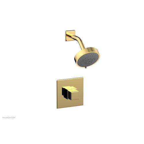 MIX Pressure Balance Shower Set - Cube Handle 290-24 - Polished Gold