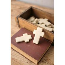 See Details - set of six hand carved stone crosses \ light grey