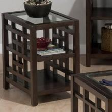 Chairside W/ 2 Shelves and Tempered Beveled Edge Glass