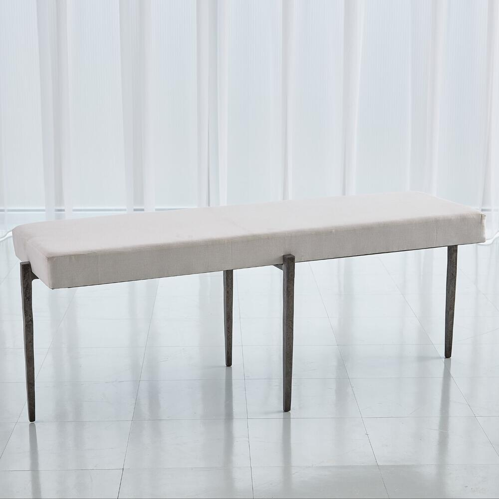 See Details - Laforge Bench-Natural Iron w/Muslin Cushion-Lg