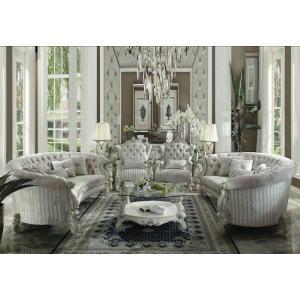 ACME Versailles Sofa w/5 Pillows - 52085 - Ivory Velvet & Bone White