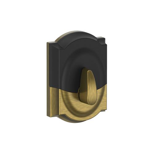 Schlage - Schlage Touch Keyless Touchscreen Deadbolt with Camelot trim paired with Camelot Handleset and Flair Lever with Camelot trim - Antique Brass