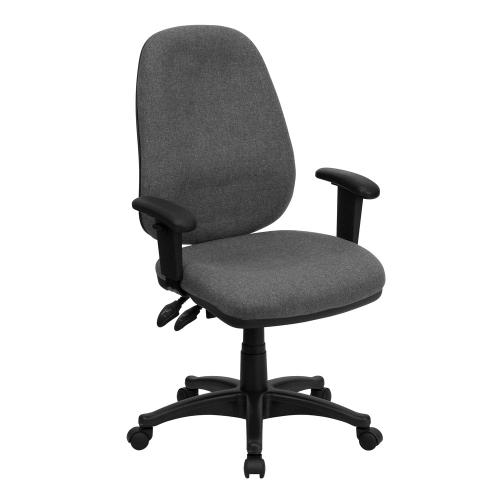 High Back Gray Fabric Executive Swivel Chair with Adjustable Arms