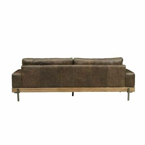 ACME Silchester Sofa - 52475 - Oak & Distress Chocolate Top Grain Leather