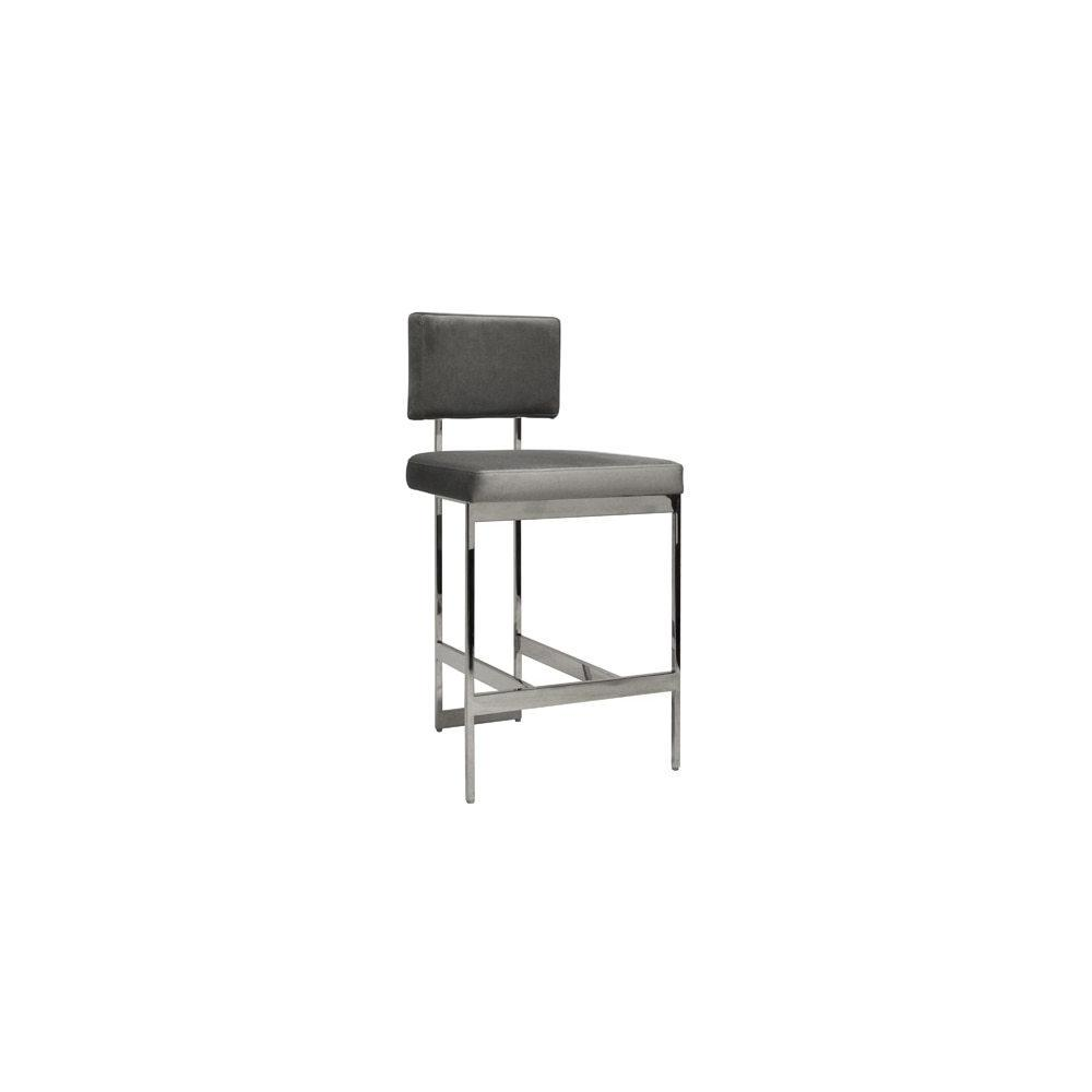 """Modern Counter Stool With Grey Velvet Cushion In Nickel Seat Height: 26"""""""