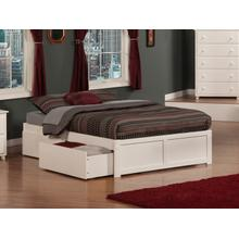 Concord Full Flat Panel Foot Board with 2 Urban Bed Drawers White
