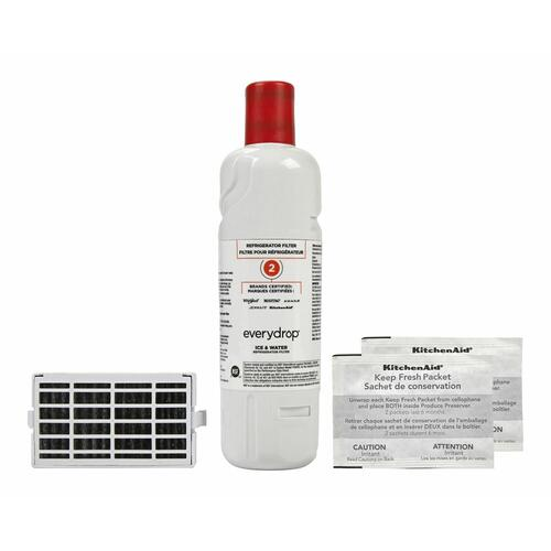 KitchenAid - Everydrop® Refrigerator Water Filter 2 - EDR2RXD1 (Pack Of 1) + Refrigerator FreshFlow™ Air Filter + FreshFlow Produce Preserver Refill - Multi-Pack