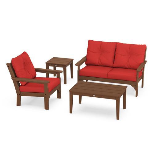 Vineyard 4-Piece Deep Seating Set in Teak / Crimson Linen