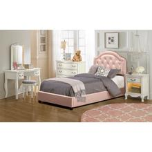 View Product - Karley Complete Twin-size Bed, Pink Faux Leather