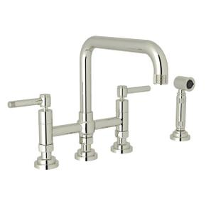 Campo Deck Mount U-Spout 3 Leg Bridge Faucet with Sidespray - Polished Nickel with Industrial Metal Lever Handle