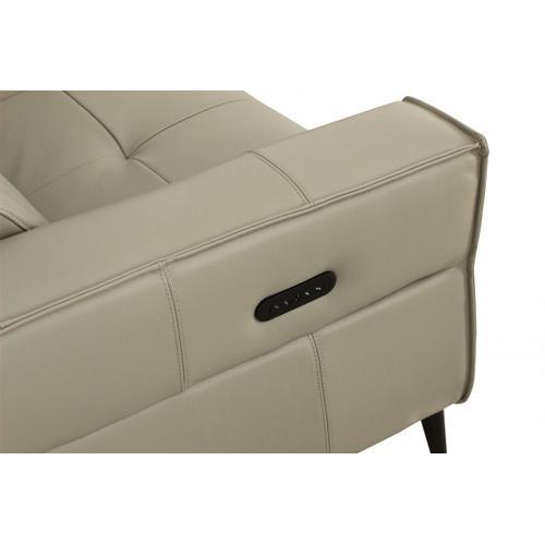 VIG Furniture - Divani Casa Nella - Modern Light Grey Leather 3-Seater Sofa w/ Electric Recliners