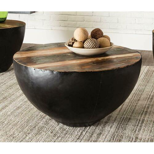 Industrial Round Black Iron Coffee Table