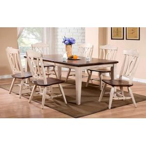 All Wood Furniture - Two Tone Dark Brown & White Butterfly leaf table & chairs