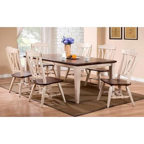 Gallery - Two Tone Dark Brown & White Butterfly leaf table & chairs
