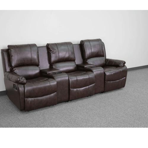 3-Seat Reclining Pillow Back Brown Leather Theater Seating Unit with Cup Holders
