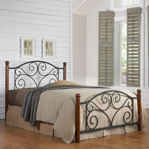 Doral Complete Metal Bed and Steel Support Frame with Decorative Scrollwork and Walnut Colored Wood Finial Posts, Matte Black Finish, Queen