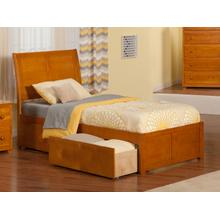Portland Twin Flat Panel Foot Board with 2 Urban Bed Drawers Caramel Latte